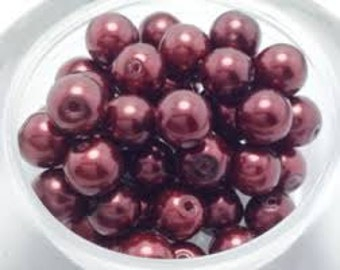 Czech Glass Pearl - 8mm - Wine - Pack 20