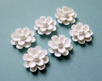 NEW - XLG 27mm Resin Flower Cabochon - White - QTY 6