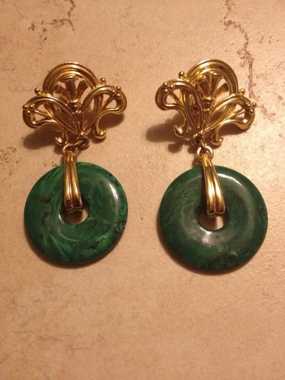 vintage statement earrings green and gold by