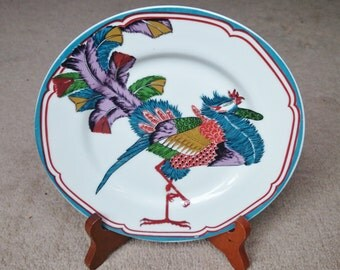 ORIENTAL Cake Plate Hand Painted Collectible Gift Cake Dessert Sandwich Plate 1970s #20