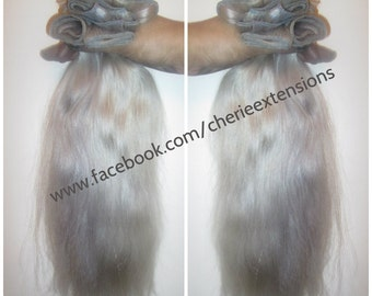 Balayage Dip Dye 8A Remy Human Hair Extensions Double Weft Clip Ins   Silver White