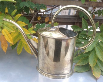 Vintage Polished Brass Mid Century Watering Can MCM