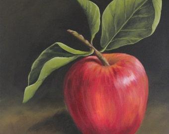 "Print of ""The Apple,"" original acrylic painting"