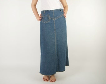 Navy Vintage Denim Skirt Dark Blue Pencil Skirt Low Waist Size 40