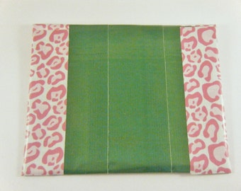 Green duck tape coin purse / card holder / change purse with pink animal print trim.