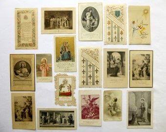 17 old French religious images 1800-1900 - Catholic pious Images - first communion - Ordination - Jesus - prayer - Messe