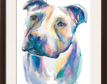 Pitbull watercolor painting-- watercolor print, original watercolor dog art, pitbull art, giclee print