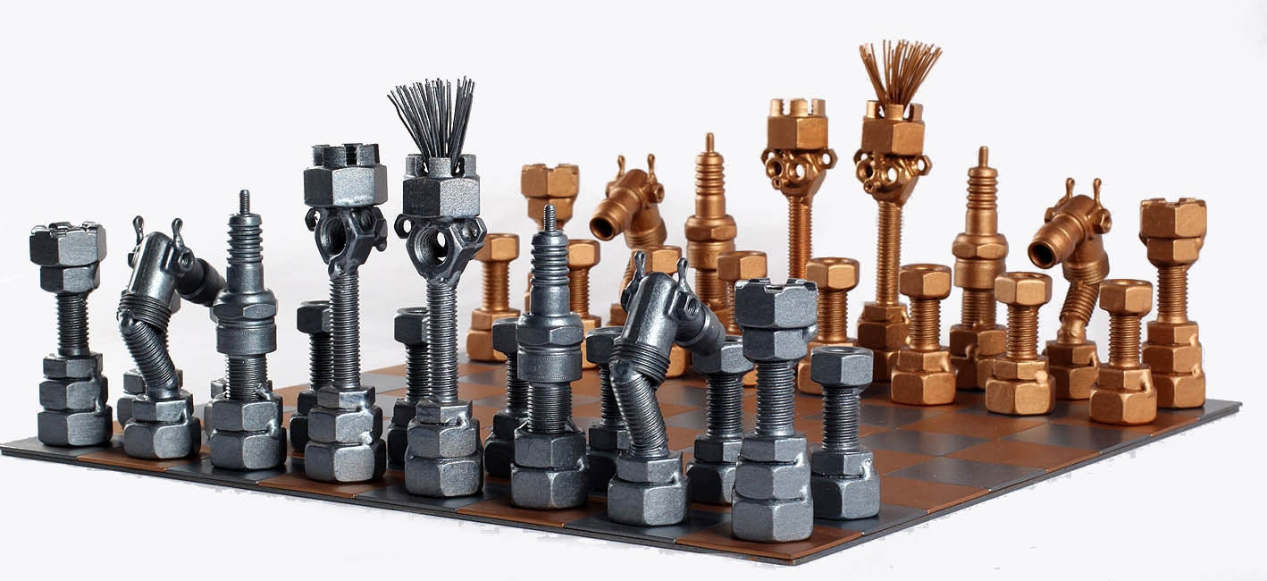 Steel Chess Set chess set metaldiorama metal art