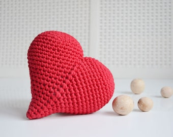 Gift With Love, Valentine's Day Gift, Mother's Day Gift, Crochet Big Red Heart, Crocheted Heart, Gift For Her, For Someone Special