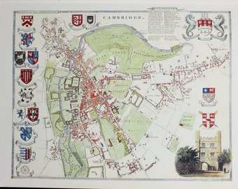 Vintage Map, Cambridge, Thomas Moule County Map of Old England.