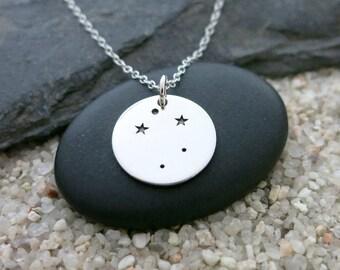Libra Constellation Necklace, Sterling Silver Libra Constellation Charm, Zodiac Jewelry