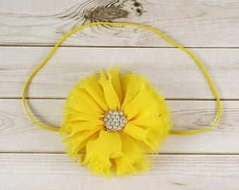 Yellow Chiffon Flower Headband, Yellow Baby Headband, Yellow Flower Girl Headband, Yellwo Newborn Headband, Yellow Toddler Headband