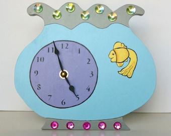 "SALE!!  Clock, Handmade, Fishbowl with Purple Dial and Yellow Fish 8"" x 9"" x 2"", Nursery/Children's Room"