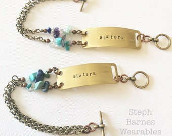 Set of sisters bracelets with mixed stone accent in bronze