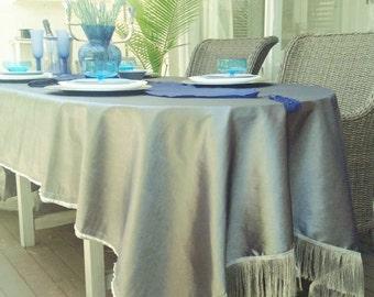 Shimmering silver shot taffeta fringed tablecloth / throw