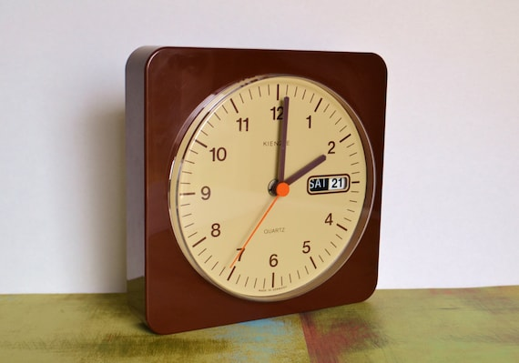 Vintage kienzle quartz wall clock with day and date by for Kienzle wall clock made in germany