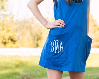 Monogrammed Double Pocket Swim Cover up/Tank/Tunic