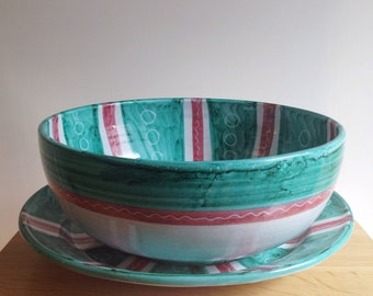 Handmade in Italy Bowl and Platter Set