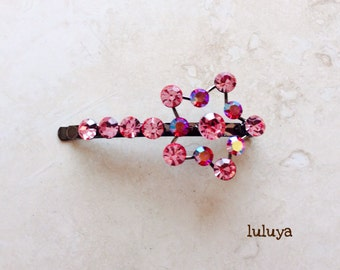 High Quality Pink Crystal Rhinestone Hair Clip Bobby Pin