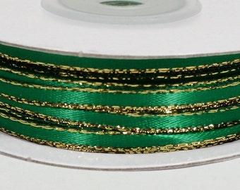 "1/8"" Satin Ribbon with Gold Edge - Emerald"