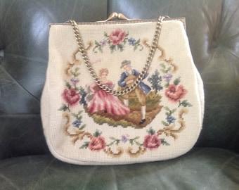 Christine Custom Bags, Vintage Needlepoint Purse, Needlepoint Handbag, Vintage Kiss Lock Purse, Vintage Needlepoint Handbag, Kiss Lock Purse