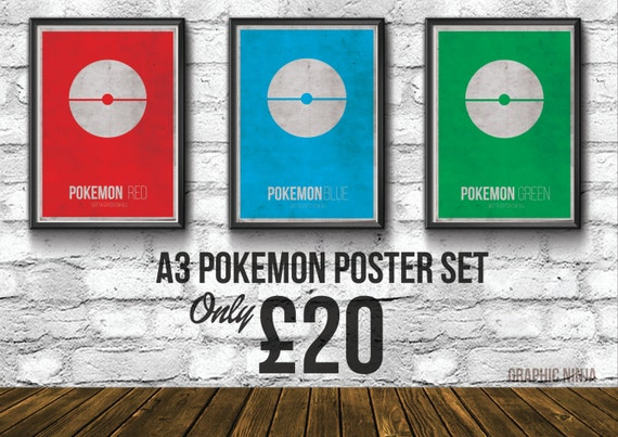 "A3 Pokemon Poster Set - Pokemon Inspired Red, Blue & Green Poster set - (11.7""x16.5"") Home Decor Gamer Prints"