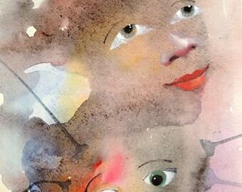 Original watercolor painting.  42 x 29,7 cm, 2013