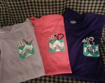 Monogrammed Nurse or Doctor Pocket t - shirt, Large