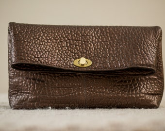Folded Textured  leather clutch / Women Small Leather Bag / Brown