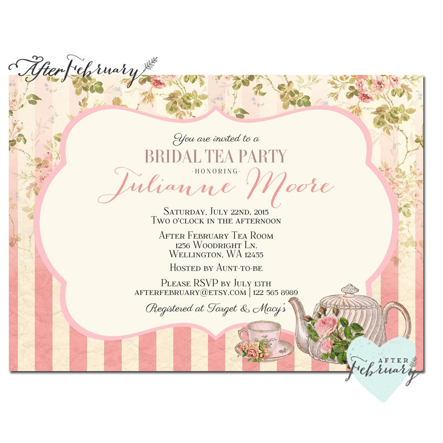 Bridal Shower Tea Party Invite Tea Party Invitation Bridal