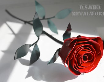 Metal Rose, 11th Anniversary, Steel Anniversary, Steel Flower, 6th Anniversary, 4th Anniversary, Wedding, Gift for Him