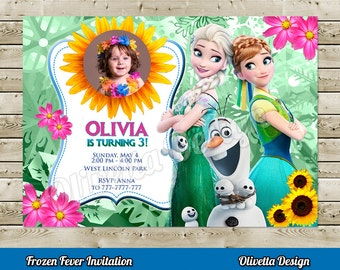 Frozen Fever Invitation for Birthday Party with photo, Frozen Printable, Frozen Invitation Customized Thank You Card Inluded! - Digital File
