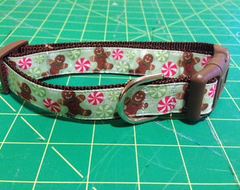 Gingerbread man christmas dog collar
