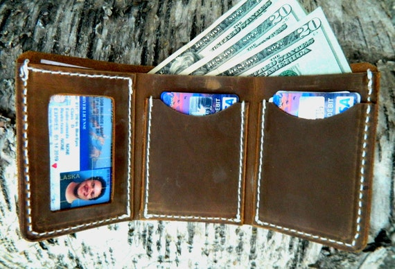 Mens Trifold Wallet, MADE IN ALASKA leather wallet, Minimal leather wallet, high quality leather wallet, mens leather trifold