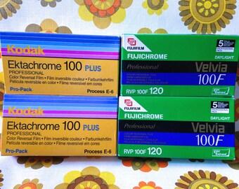 Vintage 5x rolls 120mm camera film Fujichrome Velvia 100F ** Expired 2007 lomography 120 Fuji 5 pack Profesional Color Reversal Film. rare!!