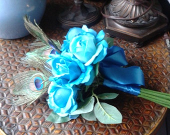 Teal Bouquet Wedding Flowers Bridal Peacock Feather Turquoise