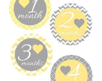 Milestone Stickers, Baby Month Stickers, Yellow and Gray, Monthly Stickers, Monthly Baby Sticker, Baby Shower Gifts, Gender Neutral, U12