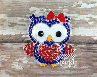 4th of July Patriotic Owl Rhinstone chunky necklace pendant