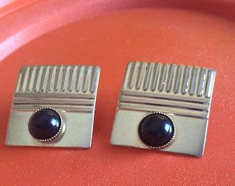 Retro 1980s Square Pierced Goldtone Earrings