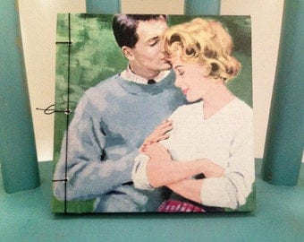 Small Vintage Romantic Stab Book, Hand Bound Book