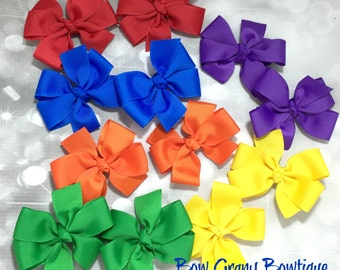 Set of 12 primary color pig tail pinwheel bows, pig tail bow, pig tail pinwheel, pinwheels bows, primary color bows, hair bow set