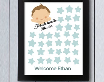 Twinkle Little Star Baby Shower Guest Book / Printable Pdf / Sign In Board Guestbook  Ideas