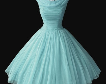 Retro dress, light blue,  made of chiffon