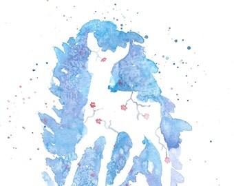 Watercolor Deer Painting – Original Watercolor Art, Abstract Artwork, Nursery Wall Decor, Home Decor, Animal Painting - by MABartStudio