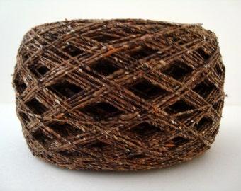 Yarn, Silk Slub 100g balls Cream, Bark Brown, soft and natural.
