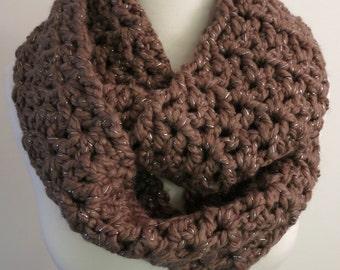 Cozy Crochet Brown Sparkly Infinity Scarf