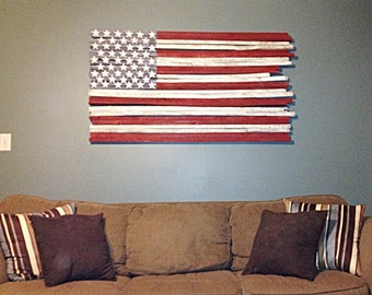 American Flag Wall Art wood american flag | etsy