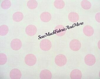 Baby Pink Polka dots on creme fabric~by the yard~Riley Blake~soft colors~La Creme