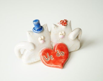 Wedding Cake Topper, Cat Wedding Cake Topper, Cat Couple, Ceramic Cake Topper by Her Moments