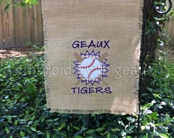 Purple & Gold LSU Baseball Burlap Garden Flag-College Baseball Flag-College Baseball Outdoor Decor-College Garden Flag-Baseball Garden Flag